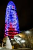 Opinião da noite Torre agbar Fotografia de Stock