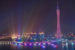 Opinião da noite da torre do cantão em Guangzhou China imagens de stock royalty free