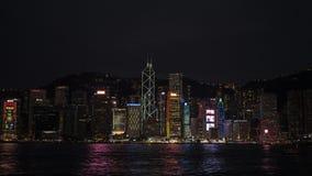 a opinião da noite Victoria Harbour foto de stock