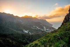 Opinião da paisagem com vila de Taganana Fotografia de Stock
