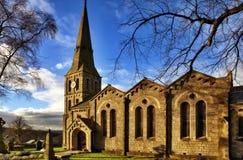 Opinião da paisagem da igreja de Christ, Chatburn. imagem de stock