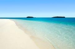 Opinião da paisagem da ilha do Nude no cozinheiro Islands da lagoa de Aitutaki Imagens de Stock