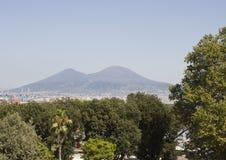Opinião da paisagem de Vesuvio, Nápoles Foto de Stock