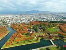 Opinião da paisagem do outono de Goruykaku Imagem de Stock