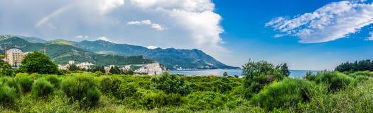 Opinião da paisagem do panorama na montanha e no mar em Montenegro Imagem de Stock Royalty Free