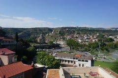 Opinião da paisagem da fortaleza de Tbilisi Narikala foto de stock royalty free