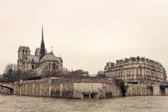 Opinião da parte traseira de Notre Dame de Paris Foto de Stock Royalty Free