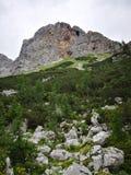 Opinião da picareta na picareta em montanhas eslovenas Fotos de Stock Royalty Free