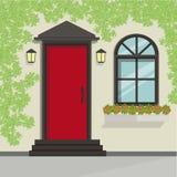 Opinião da porta da rua com a videira na parede Elemento da construção do vetor ilustração royalty free