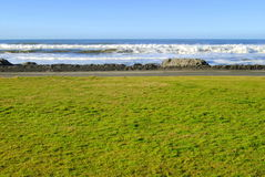 Opinião da praia de um parque imagens de stock royalty free