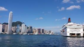 Opinião da rua da cidade do porto de Hong Kong Fotos de Stock Royalty Free