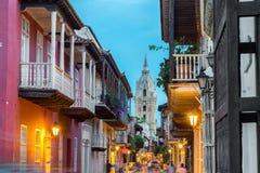 Opinião da rua de Cartagena fotografia de stock