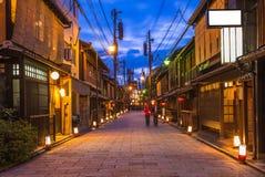 Opinião da rua de Gion, rua de Shinbashi-dori imagem de stock royalty free