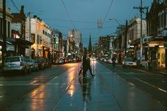 Opinião da rua de Melbourne Fotografia de Stock