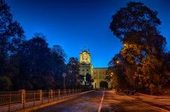 Opinião da rua do outono da noite a Catherine Palace em Tsarskoye Selo Pushkin St Petersburg, Rússia Foto de Stock Royalty Free