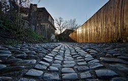 Opinião da rua dos tijolos Imagens de Stock Royalty Free