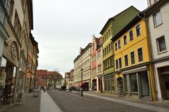 Opinião da rua em Jakobsstrasse em Naumburg Imagem de Stock