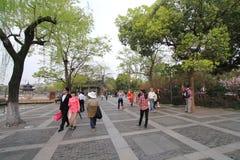 Opinião da rua na paisagem cultural do lago ocidental de Hangzhou Imagem de Stock