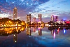 Opinião da skyline da cidade de Colombo fotos de stock royalty free
