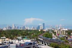 Opinião da skyline do dia de Miami fotografia de stock
