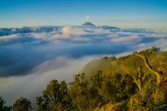 Opinião de ângulo alto da montagem Bromo coberta com as nuvens contra o céu Imagem de Stock Royalty Free