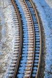 Opinião de ângulo alto da trilha do trem imagem de stock