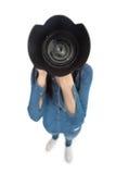 Opinião de ângulo alto o fotógrafo ocasional que toma a imagem da câmera fotografia de stock royalty free