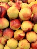 Opinião de ângulo dianteira de nectarina amarelas e vermelhas orgânicas frescas Imagem de Stock