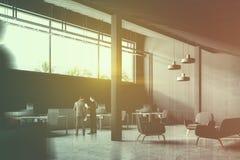 Opinião de ângulo industrial cinzenta do escritório do estilo, pessoa Imagens de Stock