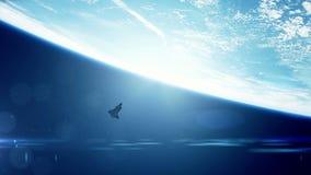 Opinião de ângulo larga do vaivém espacial ilustração do vetor