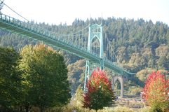 Opinião de ângulo larga, ponte do ` s de St John, Portland, Oregon Foto de Stock