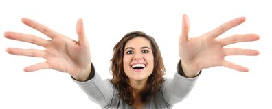 Opinião de ângulo larga uma mulher que tenta alcançar Imagens de Stock Royalty Free