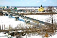 Opinião de abril da catedral Nevsky Nizhny Novgorod Imagens de Stock Royalty Free