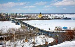 Opinião de abril de Strelka Nizhny Novgorod Fotografia de Stock