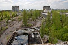 Opinião de Aeiral da cidade de Pripyat na zona de exclusão de Chernobyl Foto de Stock