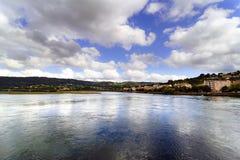 Opinião de Anoramic da baía de Eume na maré baixa com corrente forte, t Imagem de Stock Royalty Free