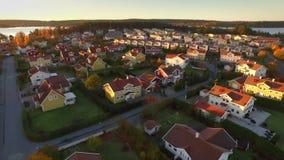 Opinião de Ariel das casas na Suécia video estoque
