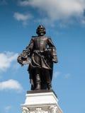 Opinião de baixo ângulo de uma estátua de Samuel De Champlain, Cidade de Quebec, Imagens de Stock