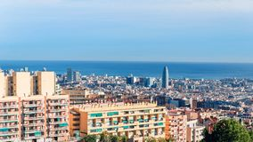 Opinião de Barcelona de cima de fotografia de stock