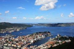 Opinião de Bergen Escandinávia de cima de Fotos de Stock Royalty Free