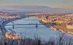 Opinião de Budapest do monte de Gellert Imagens de Stock Royalty Free