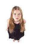 A opinião de cabelos compridos de olho de peixes da menina Imagem de Stock