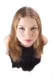 A opinião de cabelos compridos de olho de peixes da menina Imagens de Stock