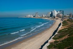 Opinião do litoral de Telavive Imagem de Stock