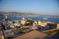Opinião de Dalt Vila da cidade de Eivissa em Ibiza Balearic Island Soain fotografia de stock