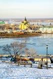 Opinião de dezembro da catedral Nevsky Nizhny Novgorod Fotos de Stock Royalty Free