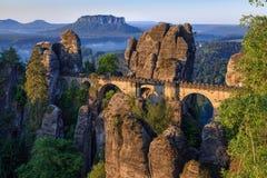 Opinião de Elbe de Bastei, Sachsische Schweiz foto de stock royalty free