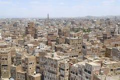 Opinião de Erial da cidade de Sanaa em Sanaa, Iémen foto de stock royalty free