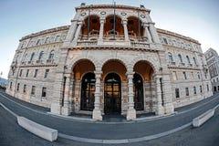Opinião de Fisheye do palácio do governo em Trieste, Itália Foto de Stock Royalty Free
