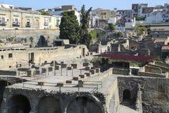 Opinião de Herculaneum sobre o local arqueológico romano antigo, perto de Nápoles, Itália imagem de stock